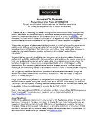 Monogram To Showcase Forge Sphere Ice Press