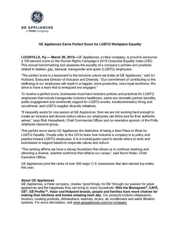 GEA Workplace Equality Release