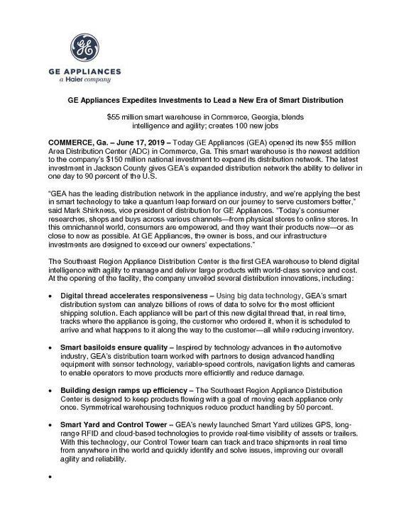 GEA Smart Distribution Press Release