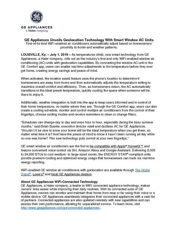 GE Appliances Unveils Geolocation Technology with Smart Window AC Units Press Release