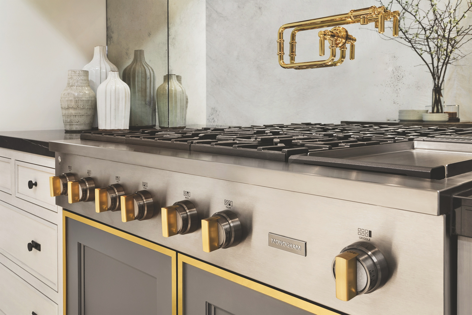 Monogram Statement Cooktop with Brass Detailing