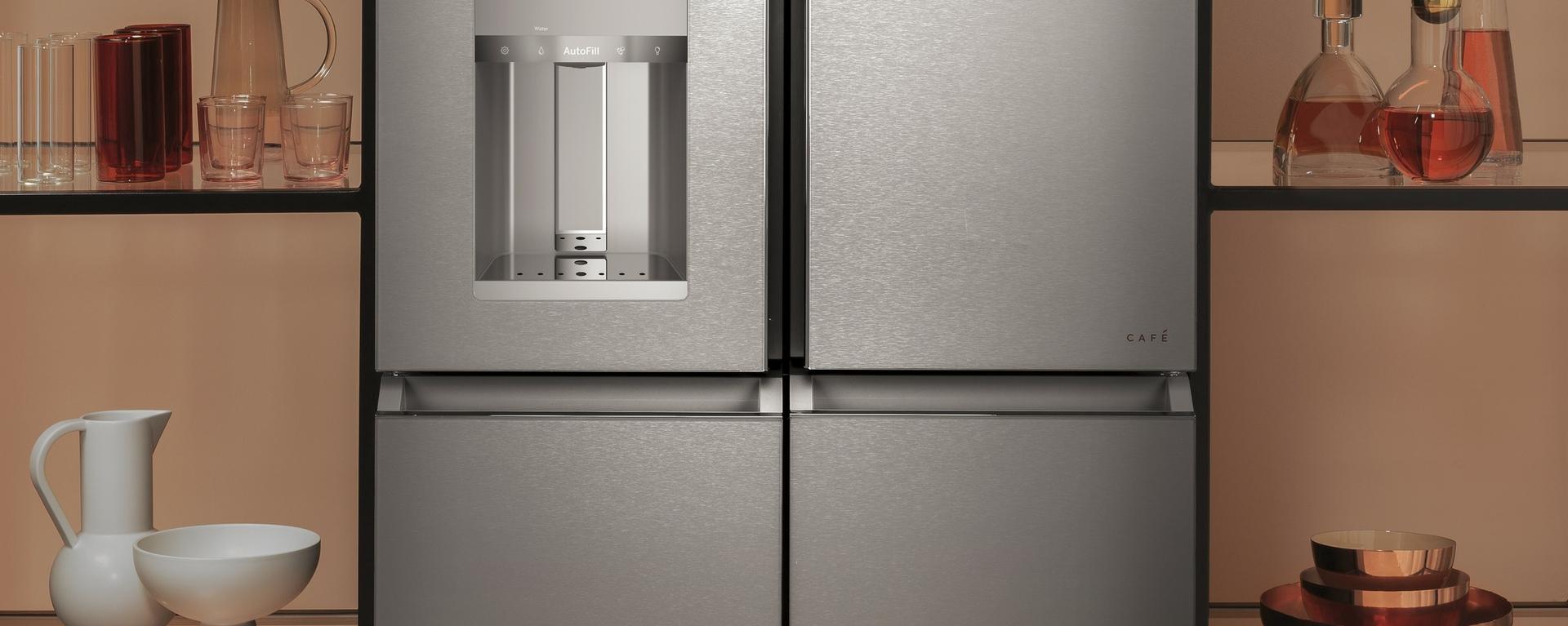 CAFE Quad-Door Refrigerator in Modern Glass