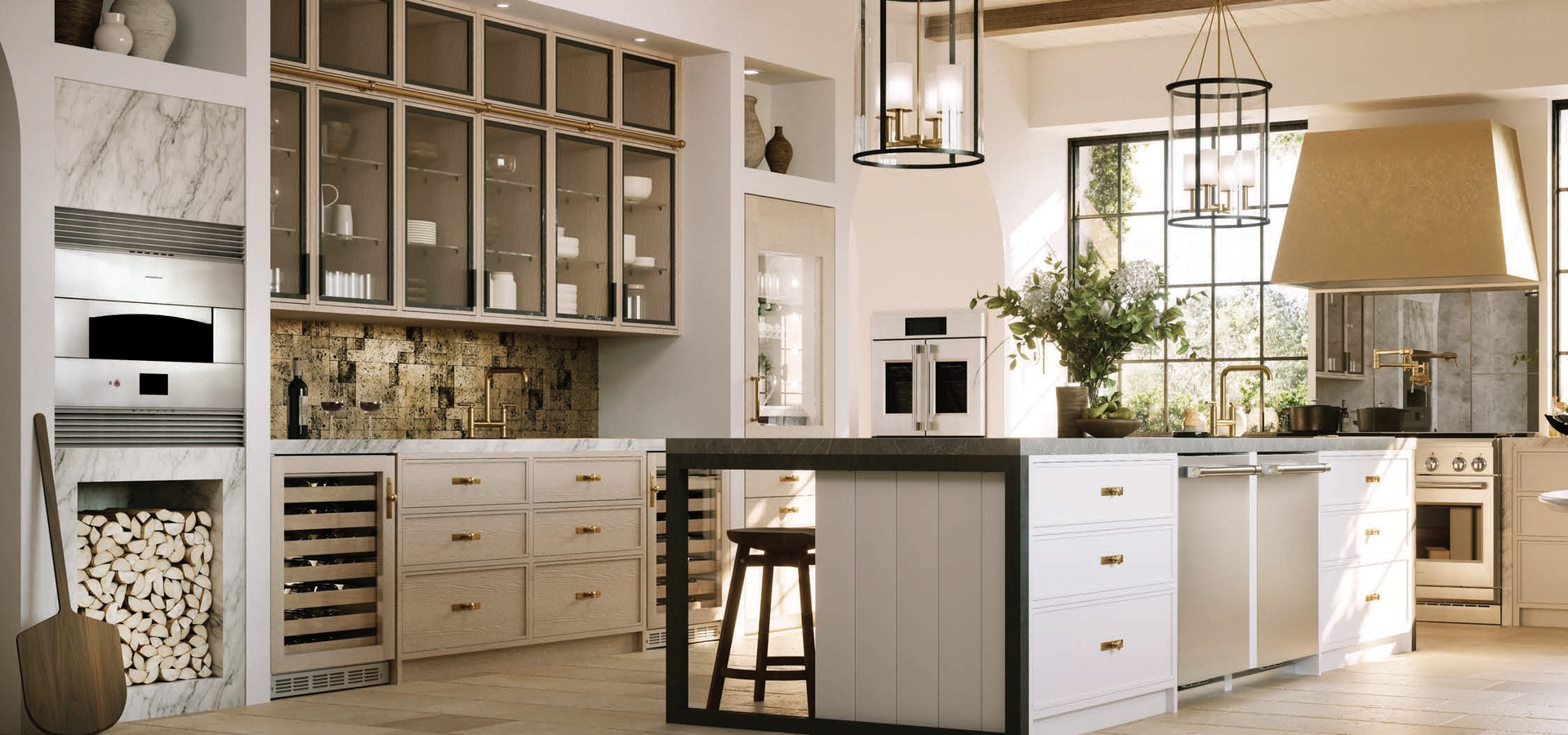Monogram Statement Kitchen with Brass Finish Hood