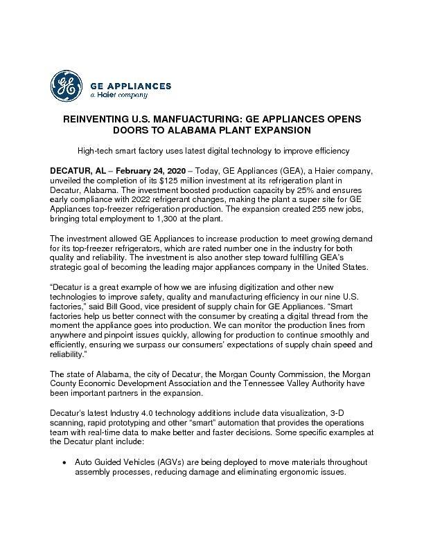 GEA Decatur Expansion 2.24.20