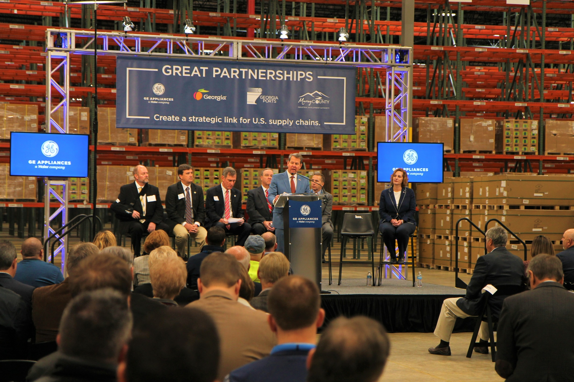 Gov Brian P Kemp celebrates the opening of GEA's Southern Logisctics Center