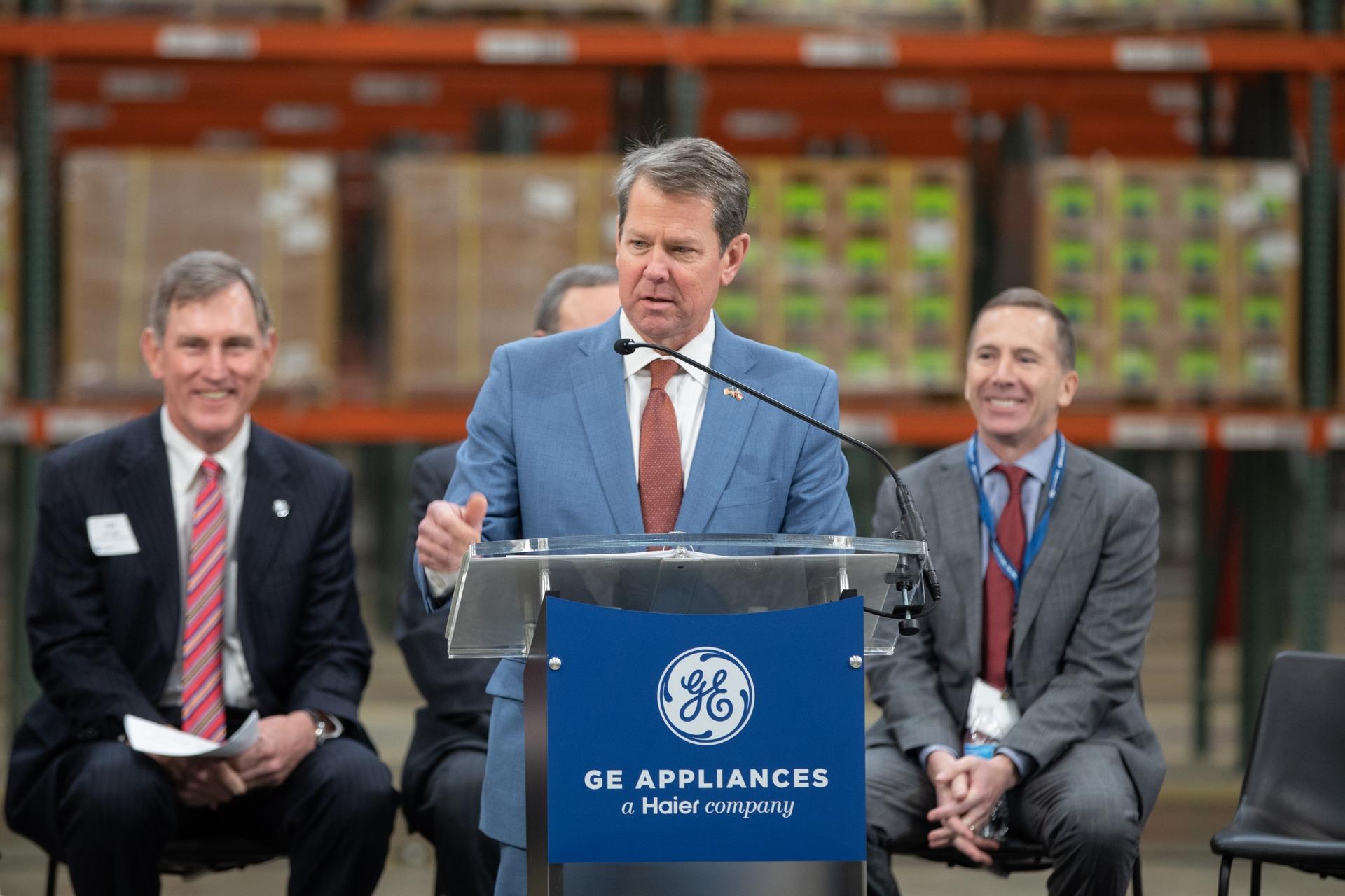 GA Gov Kemp addresses crowd during opening of GEAs Southern Logistics Center