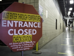 Closed Entrance at a GEA Plant to Reroute Employees to Temperature Screening