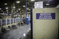 Reminder to Social Distance at a GEA Plant