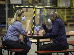 Solid Lexan barriers were installed on 65 tables in one plant to allow employees to eat their lunches or take breaks.
