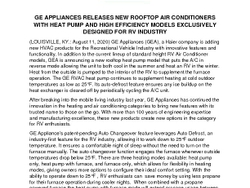 GE Appliances Releases New Rooftop Air Conditioners With Heat Pump and High Efficiency Models Exclusively Designed For RV Industry_PressRelease