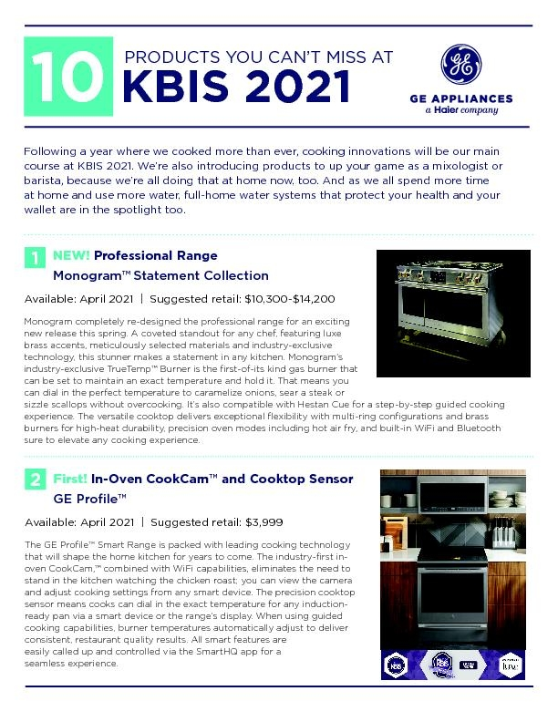 GE Appliances Top 10 KBIS/IBS products for 2021