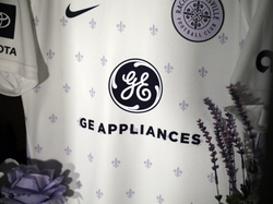 Close-Up of Racing Louisville FC Away Kit with GEA Logo