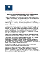 GE Appliances refrigeration investment completion announcement
