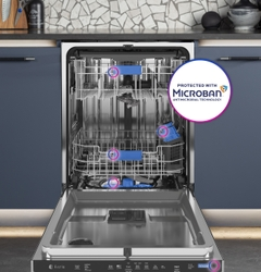 Microban® Antimicrobial Technology is built into the high-contact touchpoints of the GE Profile UltraFresh System™ Dishwasher with Microban® Antimicrobial Technology.