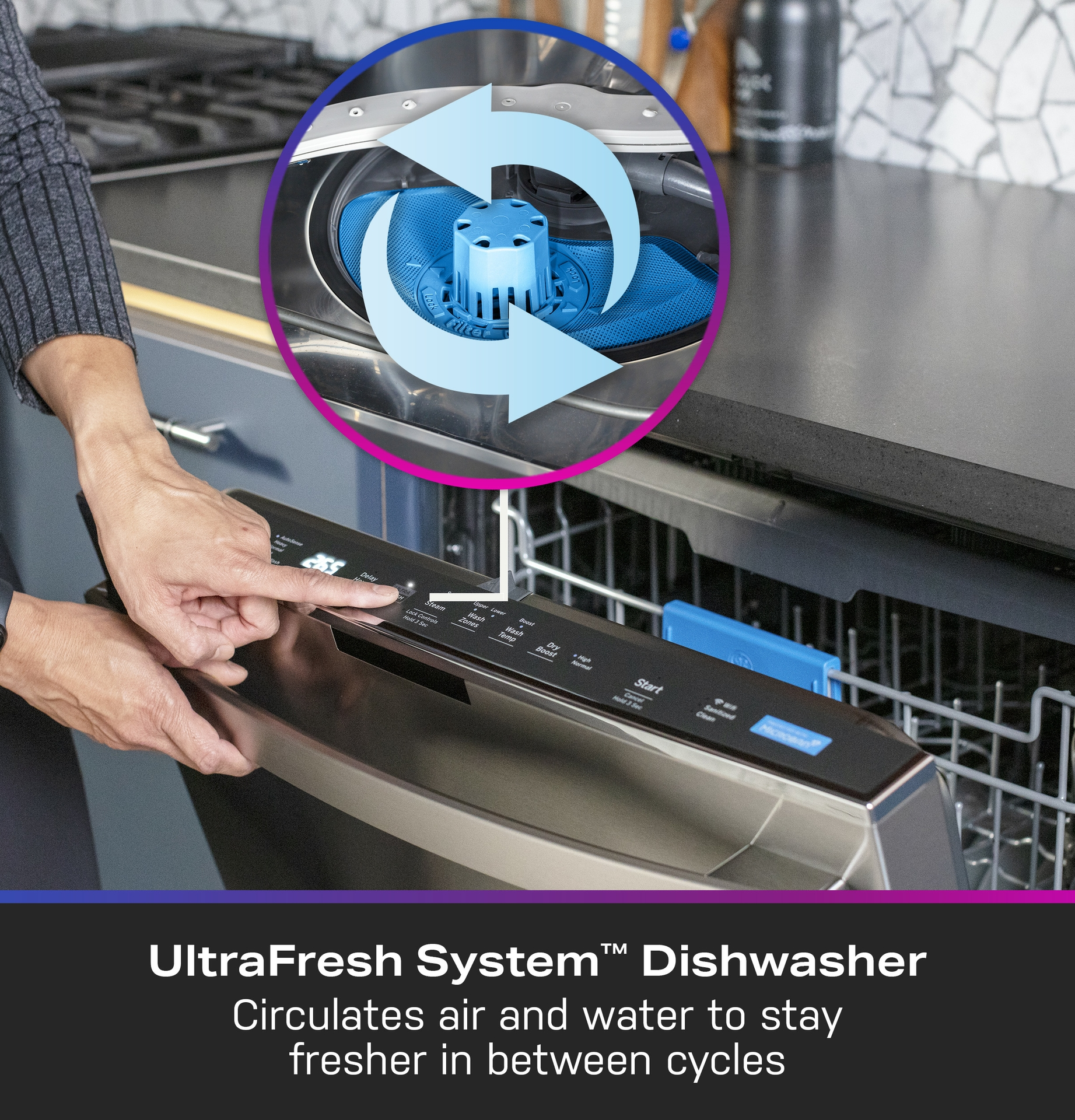 The UltraFresh System™ helps to stop the causes of odor in the GE Profile UltraFresh System™ Dishwasher with Microban® Antimicrobial Technology