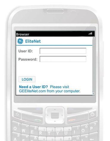 EliteNet® Mobile – login screen