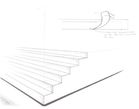Sketch of illuminated stairs using OLED technology.