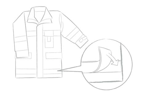 Sketch of illuminated safety outerwear using OLED technology.