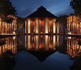 One striking feature at Amanyara is a central pond that features reflections of the surrounding pavilion facades.