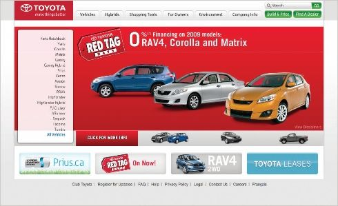 New toyota.ca website