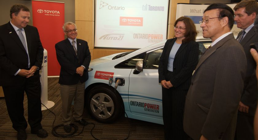 Toronto Prius PHV delivery event at TCI Head Office
