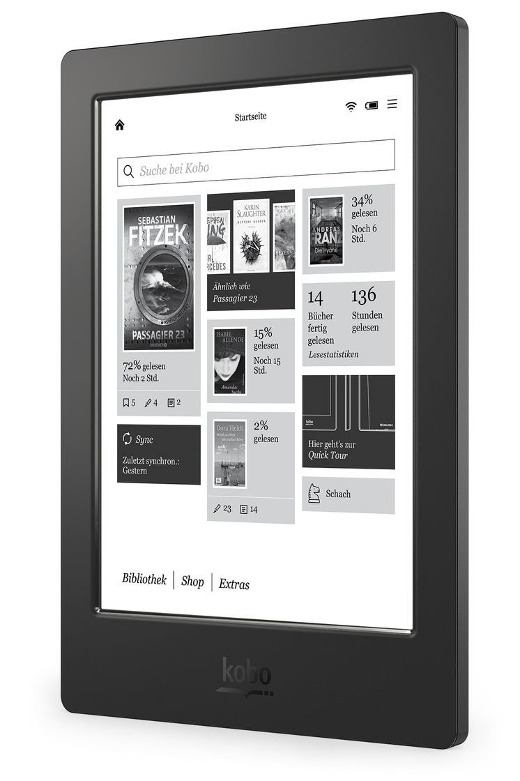 Kobo Aura H2O - Left Angle (Home Screen)  - Germany
