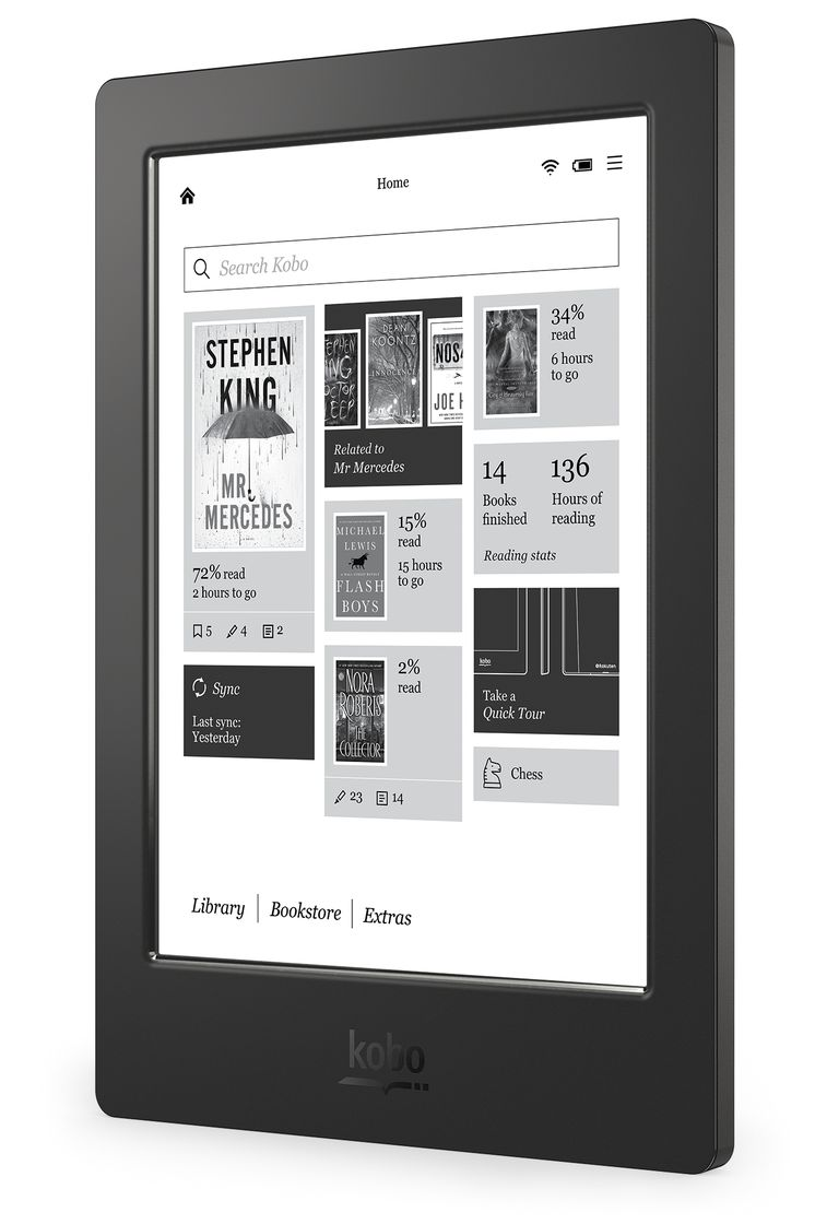 Kobo Aura H2O - Left Angle (Home Screen) - US