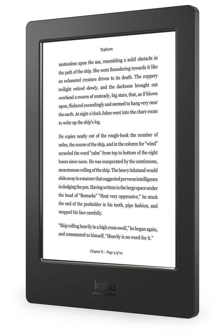 Kobo Aura H2O – Left Angle (Reading Screen) - US