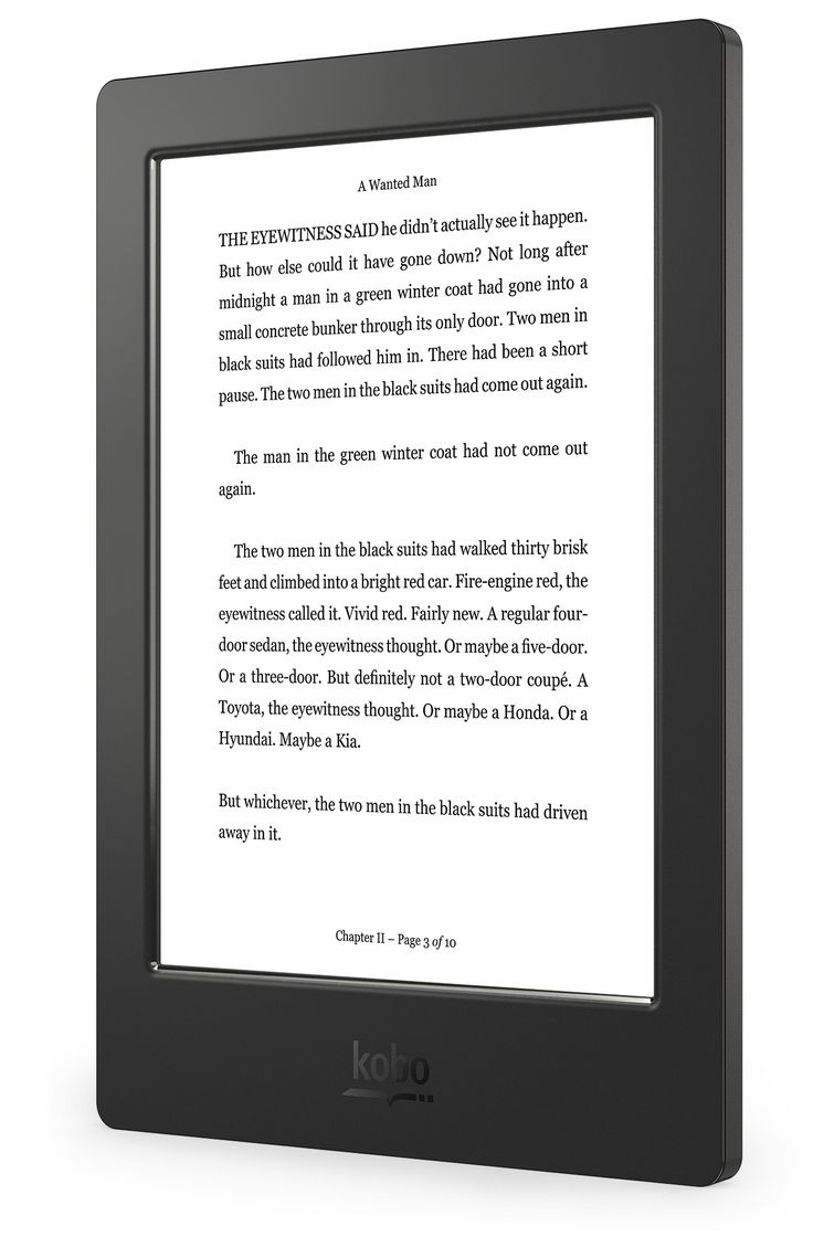 Kobo Aura H2O – Left Angle (Reading Screen) - UK