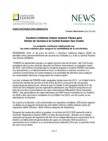 NRS_F_SCE_6_7_SCE Anuncia Planes para Retirar de Servicio a la Central Nuclear San Onofre