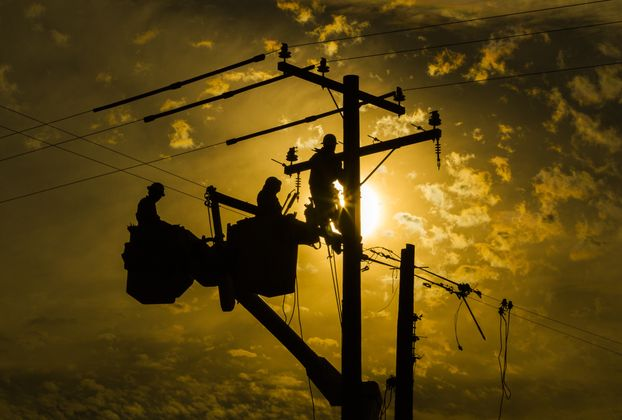 Linemen Work on Infrastructure