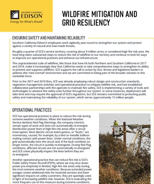 Wildfire Mitigation and Grid Resiliency: Ensuring Safety and Maintaining Reliability