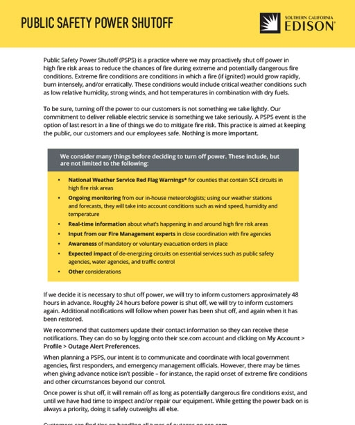 Public Safety Power Shutoff - 1 pager (English)