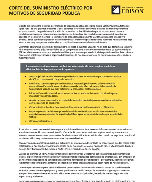 Public Safety Power Shutoff - 1 pager (Spanish)