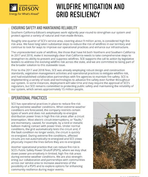Wildfire Mitigation and Grid Resiliency