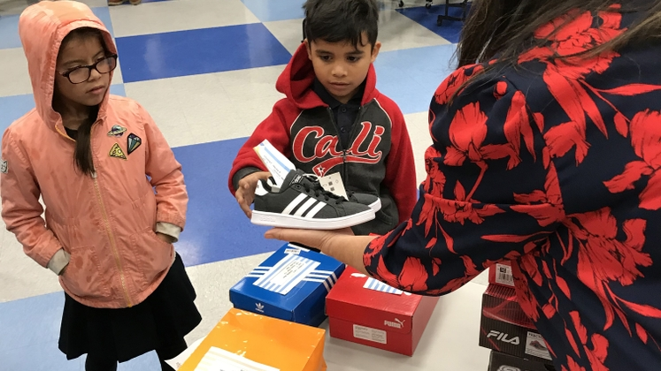 Edison employees recently donated shoes to students at Encinita Elementary in Rosemead.
