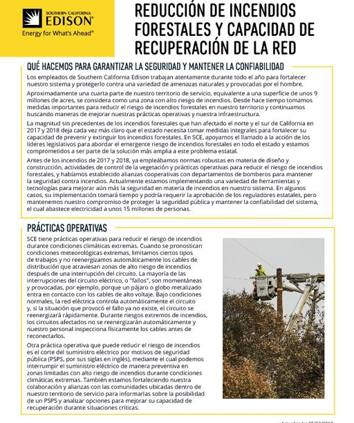 Wildfire Mitigation and Grid Resiliency (Spanish)