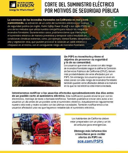 PSPS Fact Sheet (Spanish)