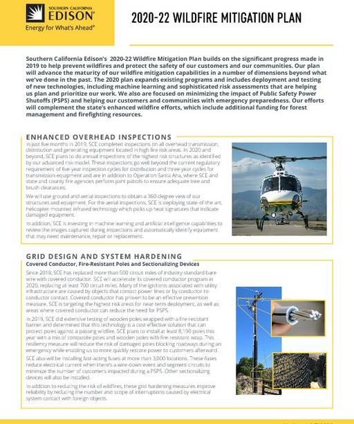 Wildfire Mitigation Plan 2020-22