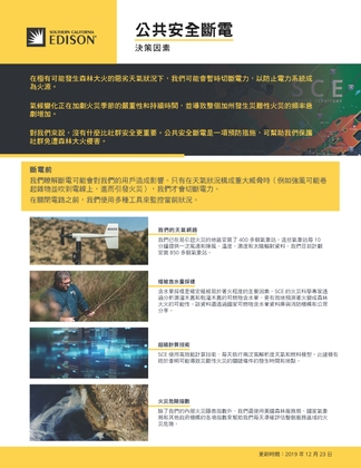 PSPS Decision-Making Factors Fact Sheet (Chinese)