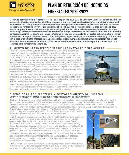 Wildfire Mitigation Plan Fact Sheet (Spanish)