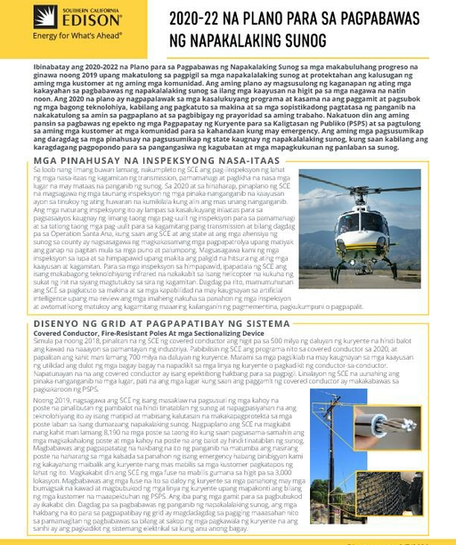Wildfire Mitigation Plan Fact Sheet (Tagalog)