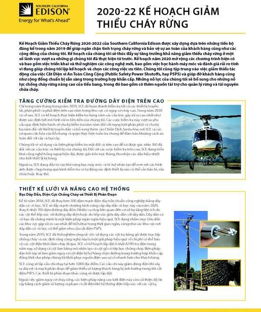 Wildfire Mitigation Plan Fact Sheet (Vietnamese)