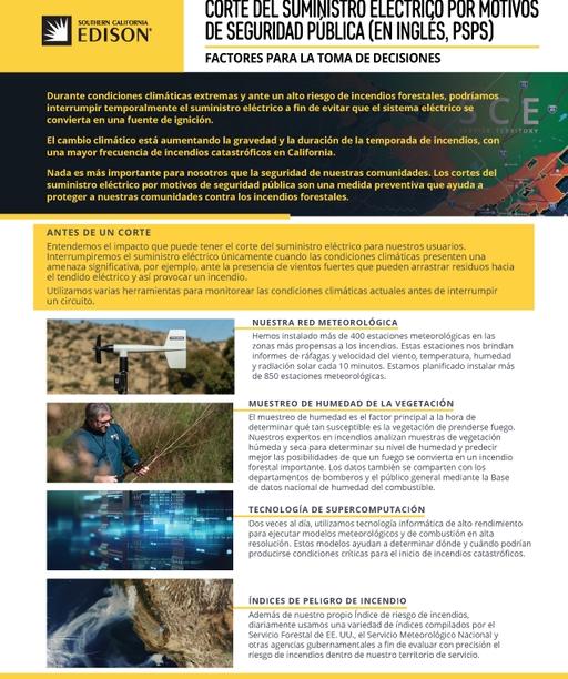 PSPS Decision-Making Factors Fact Sheet (Spanish)