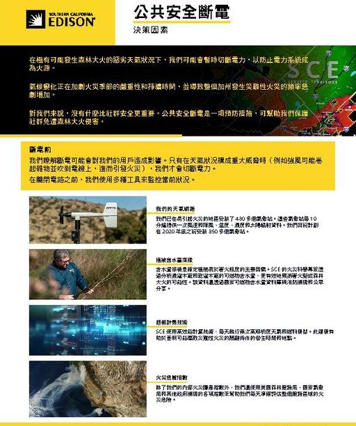 PSPS Decision Making Factors Fact Sheet (Chinese)