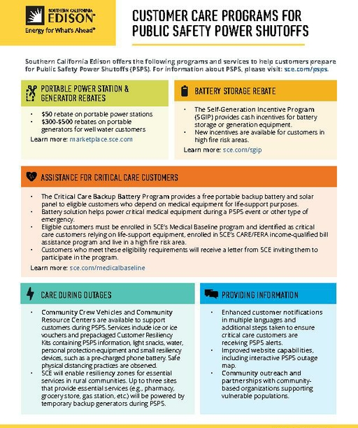 PSPS Customer Care Programs Fact Sheet