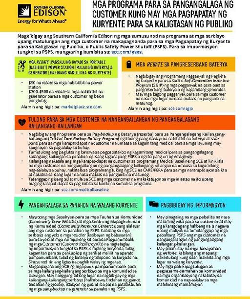 PSPS Customer Care Programs Fact Sheet (Tagalog)
