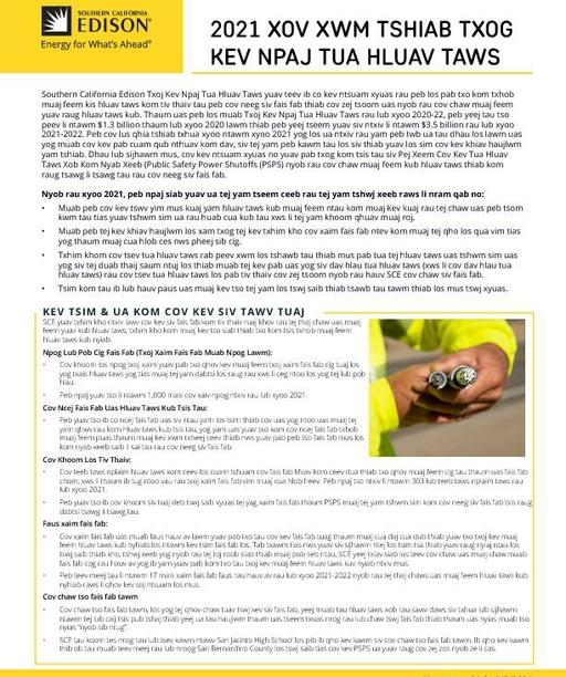 Wildfire Mitigation Plan 2021 Update (Hmong)
