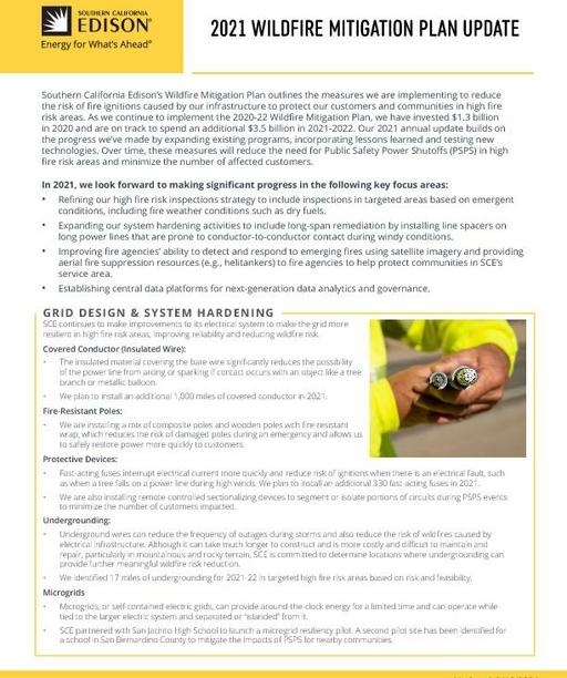Wildfire Mitigation Plan 2021 Update