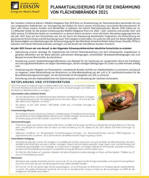 Wildfire Mitigation Plan 2021 Update (German)